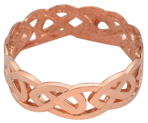 Women's 10k Rose Gold Celtic Wedding Band Trinity Knot Eternity Ring (7)