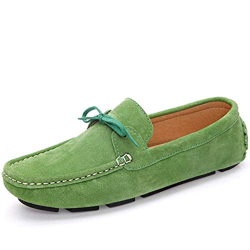 (Men Loafers Moccasin Hombre Casual Suede Leather Shoes Navy Blue Slip On Shoes Moccasins for Men,Green,10)