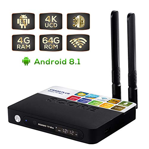 CSA93 Plus Android 8.1 Box, 4GB RAM 64GB ROM Bluetooth 4.0 Quad Core 64 Bits 3D 4K Ultra HD,USB 3.0 2.4G/5G WiFi ()
