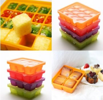 Silicone Ice Mold I-Cube Multi Cube Baby Food Starage Container (Orange+Red+Viloet+Green) by Bibito (Image #7)