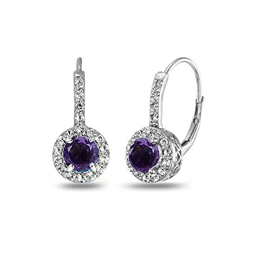 (Sterling Silver African Amethyst & White Topaz Round Dainty Halo Leverback Earrings )