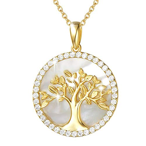 (Agvana Gold Plated Sterling Silver Natural Mother of Pearl Tree of Life Pendant Necklace Halo Cubic Zirconia CZ Fine Jewelry Gifts for Women Girls with Gorgeous Jewelry Box, 16