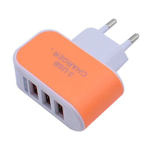 Tuscom Triple USB Port 3.1A EU Plug for Home Travel Wall Charger,for Phones Cameras IPAD,MP3 Players (Orange) by Tuscom@ (Image #1)