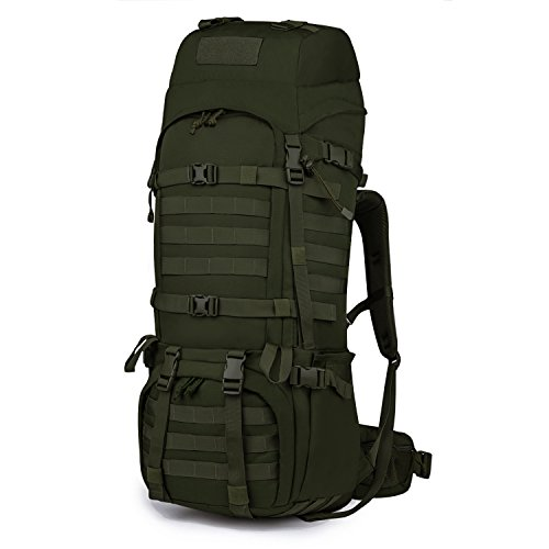Mardingtop 65L Internal Frame Backpack Tactical Military Molle Rucksack for Camping Hiking Traveling with Rain Cover, YKK Zipper YKK Buckle Army Green