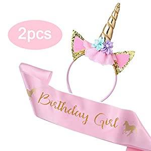 Cooper Fun Unicorn Birthday Set of Gold Glitter Unicorn Headband Pink Satin Sash for Happy Birthday Unicorn Party Supplies Favors Decorations