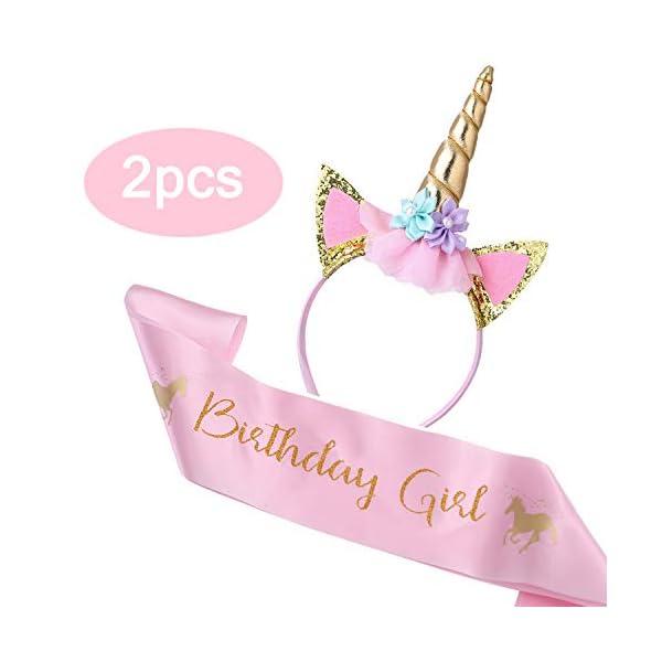 Cooper Fun Unicorn Birthday Set of Gold Glitter Unicorn Headband Pink Satin Sash for Happy Birthday Unicorn Party… 3