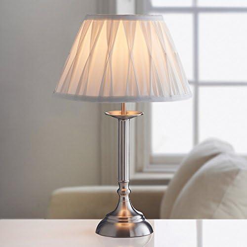 Large Table Lamp Office Desk Oxford Luxury Light Lamp NightLight Bedroom Ivory/Brushed Silver: Amazon.co.uk: Lighting