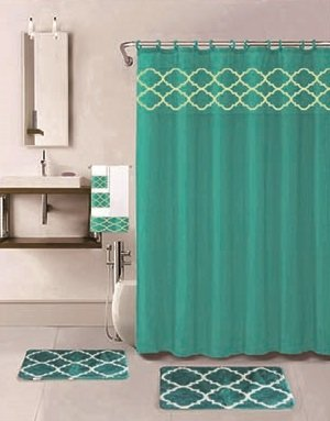 18 Piece Bath Rug Set Choose from Taupe, Teal Blue, Sage Green, Burgundy Holiday Red Geometric Desin Print Bathroom Rugs Shower Curtain/Rings and Towels Sets (Amanda Teal)