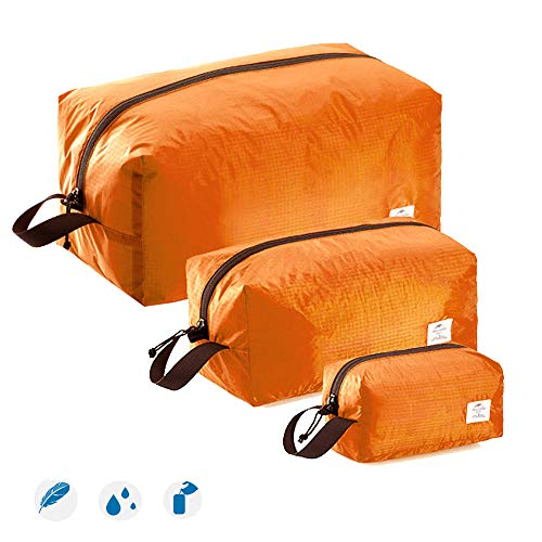 Sac Compression Set (Tentock 3pcs Travel Packing Cubes Luggage Organizers Ultra-Light Waterproof Travel Storage Bags(Orange))