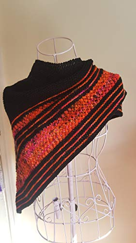 Hand Knit Cashmere, Merino Wool and Pima Cotton Shawl made from Hand Dyed Yarn - Fire Shawl Mothers Day Gift ()