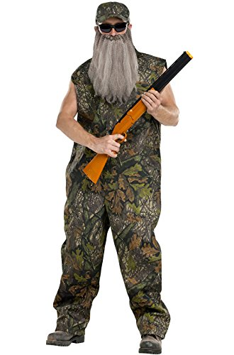 Fun World Men's Duck Hunter Coveralls Camo Beard
