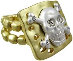 Rhinestone calavera & calavera dorado elástico anillo