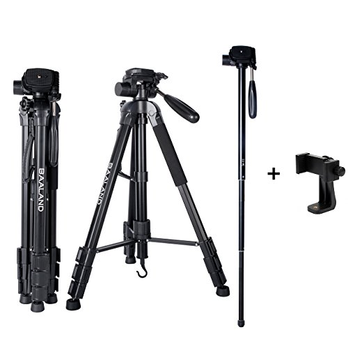 Camera Tripod with iPhone Holder, 20-70 inch Flexible DSLR Tripod for Camre Canon Nikon DV Gopro Vlogging Selfie Video Camcorder (Aluminum, with Cellphone Mount and Bag)