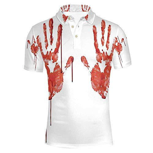 Horror Stylish Polo Shirt,Handprint Like Wanting Help Halloween Horror Scary Spooky Flowing Blood Themed Print for Men,M -