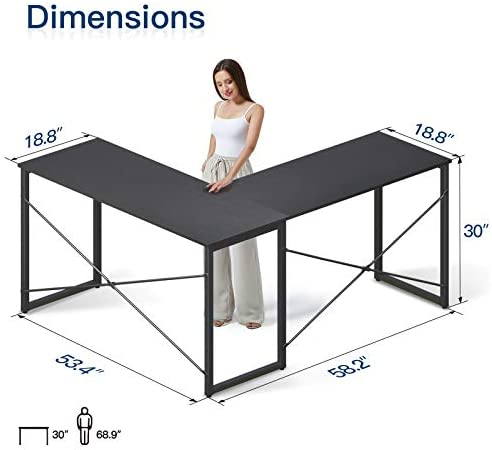"""Coleshome L Shaped Desk 58"""" Home Office Desk Computer Desk Corner Gaming Table Office Writing Workstation Space-Saving Easy to Assemble, Black"""