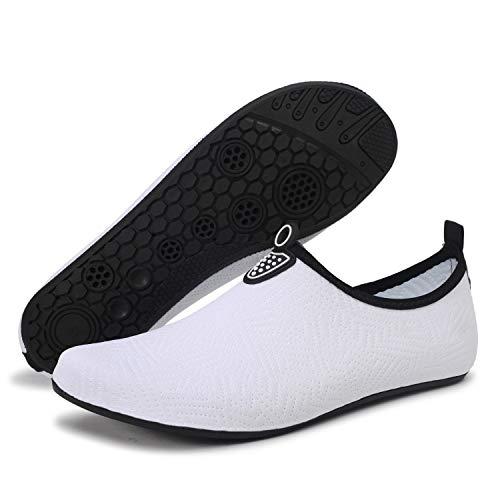 FEKOAFE Barefoot Quick-Dry Water Sports Shoes Aqua Socks for Swim Beach Pool Surf Yoga for Women Men White 12-13 M US Women/10-11 M US Men