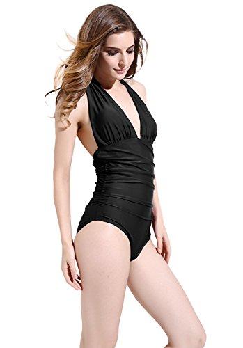 Women Backless Elastic Monokini Swimsuit Black - 4