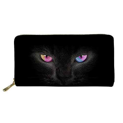 Mumeson Women Leather Zipper Round Wallet Black Cat Print Clutch Purse Large Storage by Mumeson