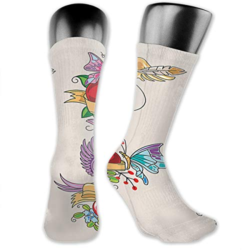 OLGCZM Beautiful Heart Tattoo Men Womens Thin High Ankle Casual Socks Fit Outdoor Hiking Trail ()