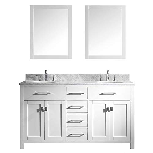 Virtu USA MD-2060-WMRO-WH-020 Caroline Bathroom Vanity 60 inches -