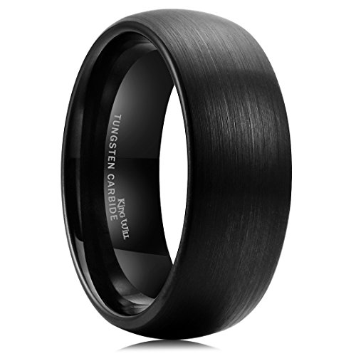 King Will TYRE 8mm Black Brushed Matte Finish Tungsten Carbide Ring Domed Engagement Wedding Band Comfort Fit(11)