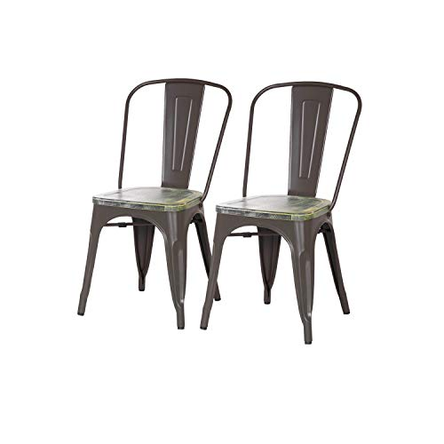 Adeco Metal Stackable Industrial Chic Dining Bistro Cafe Side Chairs, Wooden Seat, Matte Dimgrey (Set of 2)