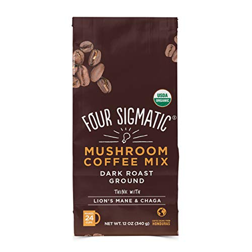 Four Sigmatic Mushroom Ground Coffee - USDA Organic and Fair Trade Coffee with Lions Mane and Mushroom Powder - Focus, Wellness - Vegan, Paleo - 12 Oz - Dark Roast (Best Way To Make Mushroom Tea)