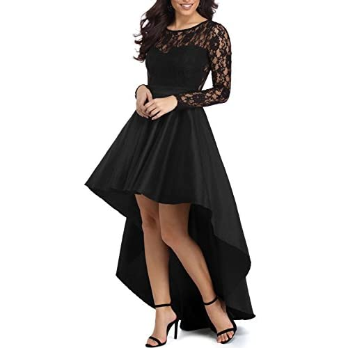 Elapsy Womens Long Sleeve Lace High Low Satin Prom Evening Dress Cocktail Party Gowns for sale
