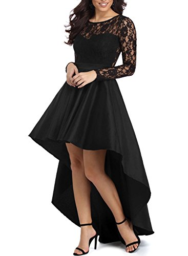 Satin Front Bodice (Elapsy Womens Long Sleeve Lace High Low Satin Prom Evening Dress Cocktail Party Gowns Black Large)