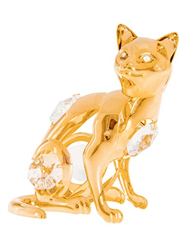 Sitting Cat 24k Gold Plated Metal Figurine with Spectra Crystals by Swarovski