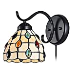 Kiven Tiffany Wall Lamp LED Sconces Stained Glass Corridor Light Mirror Front Lamp E26 Gallery Wall Lights Passage Hallway Light with Practical Plug - Cable and Switch