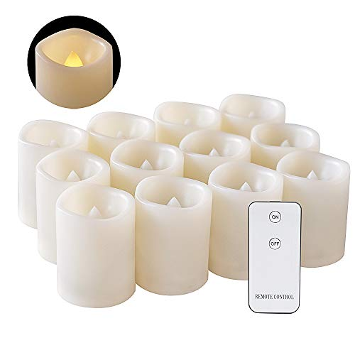 DRomance Flameless Flickering LED Votive Candles with Remote, Battery Operated TeaLights Battery Included,Warm White Light 1.5 x 2 inch Set of 12 for Christmas Decoration ()
