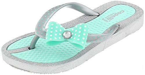 Capelli New York Girls Polkadot Printed Flip Flops with Bow and Gem Stud Detail Mint 3/4