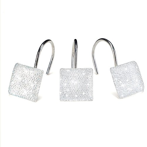 AGPtek 12 PCS Fashion Decorative Home Sequins Diamond Shower Curtain Hooks for Living Room Bedroom Bathroom Interior decoration, Soldering Iron