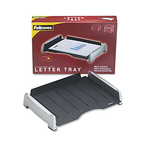Fellowes 8031701 Office Suites Side Load Letter Tray, Plastic, Black/Silver