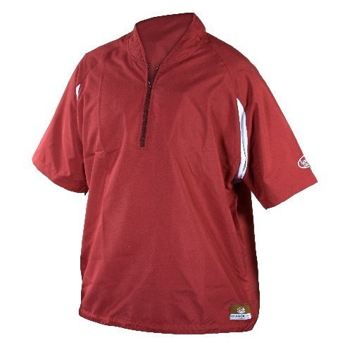 GSM Outdoors LS1431-A-MR-XXL Louisville Adult Slugger Batting Cage Pull-Over Short Sleeve, XX-Large, Maroon