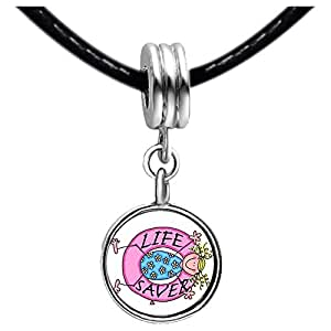 Chicforest Silver Plated Life Saver Photo Purple Amethyst Crystal February Birthstone Flower dangle Charm Beads Fit Pandora Chamilia Biagi Charm Bracelet