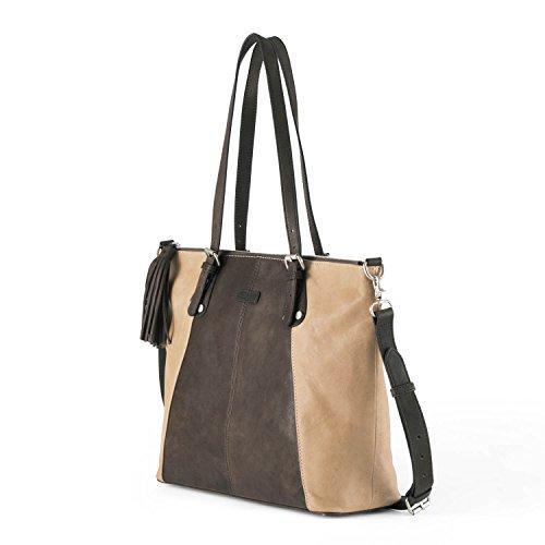 Ellington Handbags Eva Tote – With Crossbody Strap Tan and Dark ()