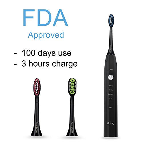 Rechargeable Sonic Electric Toothbrush for Adults, 5 Modes USB Toothbrush Up to 100 Days Battery Life with 3 Replacement Heads, IPX7 Fully Waterproof by Rlway RL-1311 Black