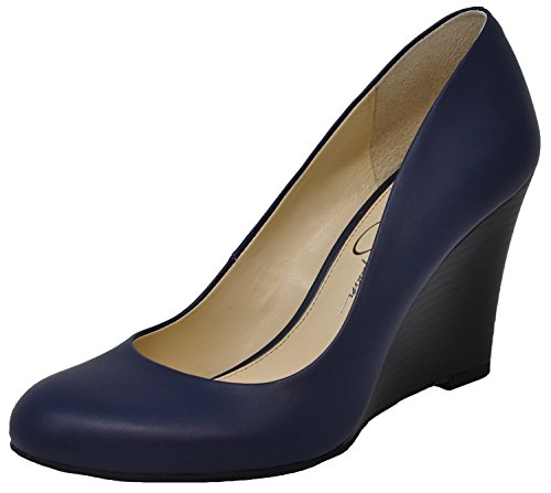 Jessica Simpson Women's Cash Wedge Pump, Navy Baby, 5.5 M - Jessica Leather