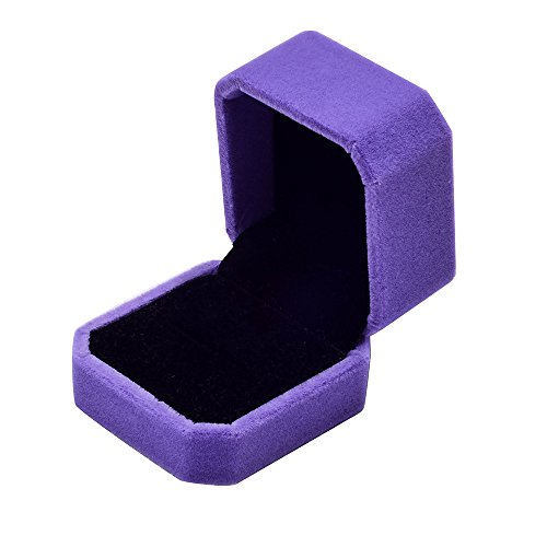 Gotian Velvet Jewellery Display Box Ring Necklace Bracelet Storage Case Chain Pendant Display Organizer Gift Box Jewelry Packaging Box Gift for Wedding Engagement (Purple)