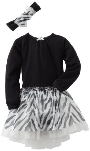 Vitamins Baby Girls' 2 Piece Zebra Print Dress Set