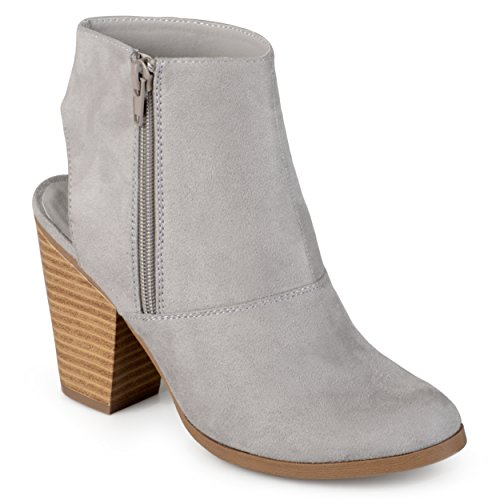 Cut Suede Collection Journee Faux Booties Grey out Womens Heel vwIvtqZ