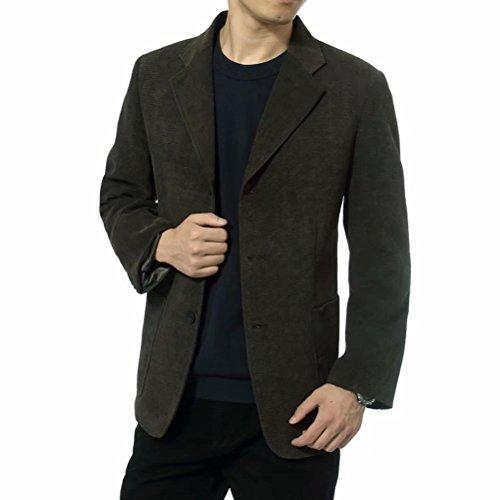 Men's Blazer Jacket Corduroy Sport Coat Smart Formal Dinner Cotton Jacket Slim Fit Two Button Notch Lapel Coat Dark Green
