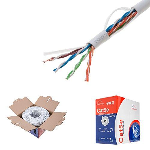 1000ft Cat5e White Solid 24AWG Cable UTP Cat5 Bulk Network Wire (Unshielded (UTP), White)