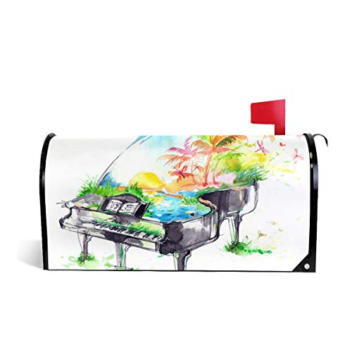 KIIKISS HUG Watercolor Piano Colorful Magnetic Mailbox Cover Covers Standard Size 21x18 in