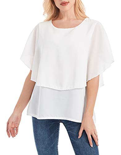 MAVIS LAVEN Womens Short Sleeve Loose Casual Layered Chiffon Top T-Shirt Blouse White XXL ()