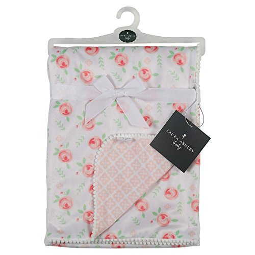 Ashley Blanket - Laura Ashley Roses Print Blanket with Pom Pom Edge, White/Pink
