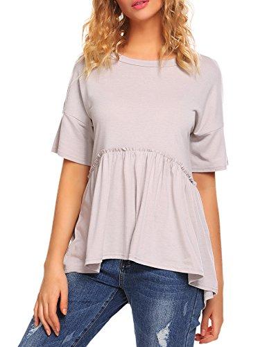 Womens Baby Doll Tops - Sherosa Women's Loose Ruffle Hem Peplum Short Sleeve Blouse Top (M, Grey)