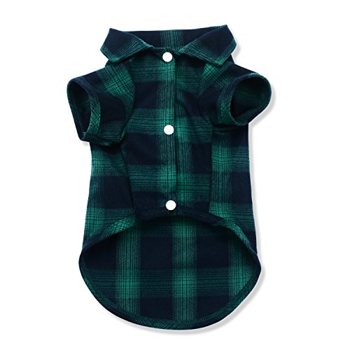Dog Shirt,Koneseve Pet Plaid Polo Clothes Shirt T-Shirt, Sweater Bottoming Shirt ,Cat Puppy Grid Adorable Wearing Stylish Cozy Halloween,Christmas Costumes {Green;M/Medium}]()